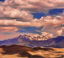 Sand Dunes - Mountains - Snow- Clouds and Shadows by Bo Insogna