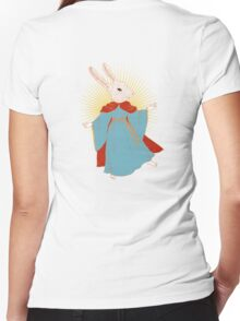 Saint Bunny has your back Women's Fitted V-Neck T-Shirt
