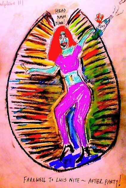 """Jane Soloman dances in Kaleidoscope Egg..with Luis! he's a good soul ...""""a time for inclusive celebration"""". That Red Hair!  by Dante xx......He'll be back.!!  by tim norman"""