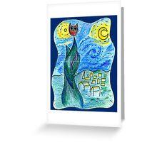 Starry Night Owl Greeting Card