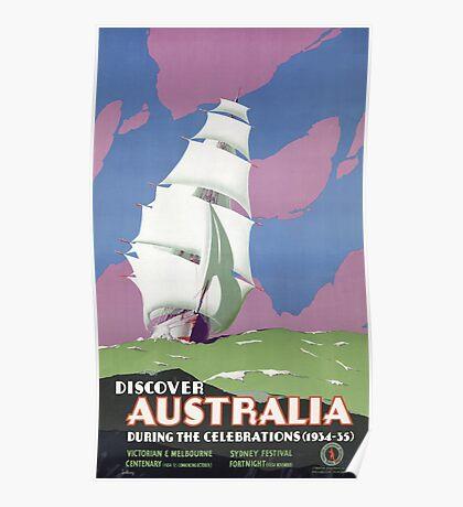 Australia Vintage Travel Poster Restored Poster