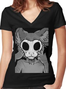 Behind The Mask Women's Fitted V-Neck T-Shirt