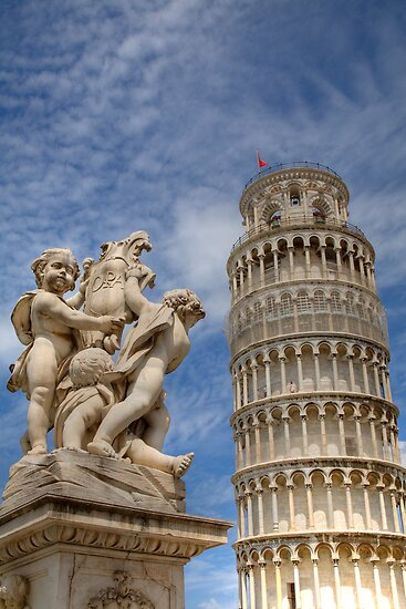 Leaning tower and Duomo in Campo di Miracoli field of Miracles, Pisa, Tuscany, Italy by Ian Middleton