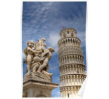 Leaning tower and Duomo in Campo di Miracoli field of Miracles, Pisa, Tuscany, Italy Poster