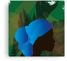 African Woman Silhouette Canvas Print