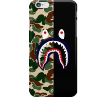 GREEN CAMO ON BLACK / SHARK iPhone Case/Skin