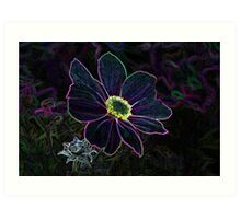 Electric Flower - Glowing Petals Abstract Flower Art Art Print
