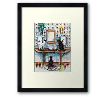 Cats in my Powder Room Framed Print