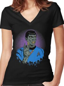 Captain Spock - Zombie Women's Fitted V-Neck T-Shirt