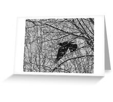 Blackbird singing in the snow storm Greeting Card