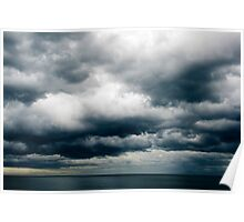 Moody Clouds and Sea Below Poster