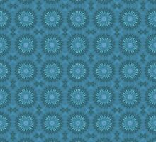 Teal Abstract Flowers by Lena127