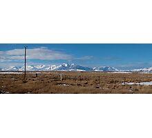 Panarama of Snowy Mountain Tops  and flat tussock land Photographic Print