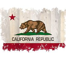 California Republic state flag - distressed edges on spruce planks by Bruiserstang