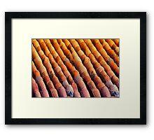 Background of vintage roof tiles Framed Print