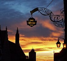 Rothenburg  - Burgtor at Dusk #1 by David J Dionne
