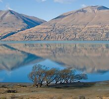 Ben Ohau reflected in Lake Ohau by trevallyphotos
