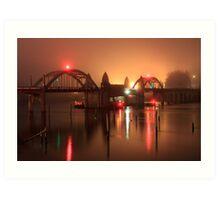 Siuslaw River Bridge At Night Art Print