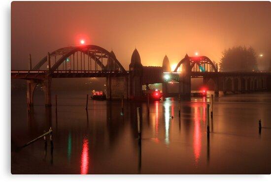 Siuslaw River Bridge At Night by James Eddy