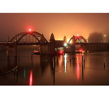 Siuslaw River Bridge At Night Photographic Print