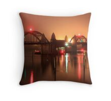 Siuslaw River Bridge At Night Throw Pillow