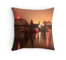 Siuslaw River Bridge At Night Throw Pillow