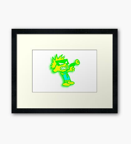 Spaceman Spiff - Green and Yellow Framed Print