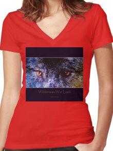 Grey Wolf Eyes III Art Poster Women's Fitted V-Neck T-Shirt