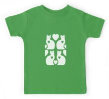Cats and Hearts (Green Mist) Kids Tee