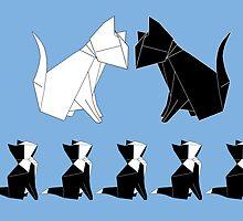 Origami Cats (Slate Blue) by kirbeekatz