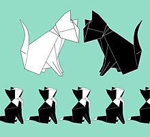 Origami Cats (Sage Green) by kirbeekatz