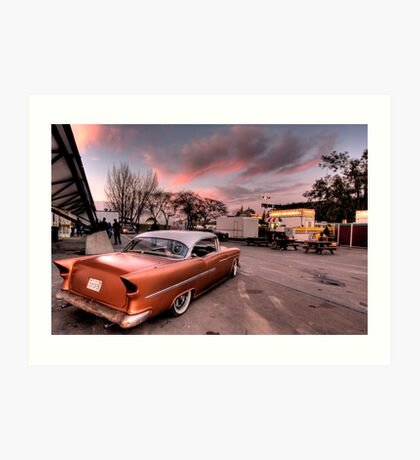 Old Chevy Belair outside car show Art Print