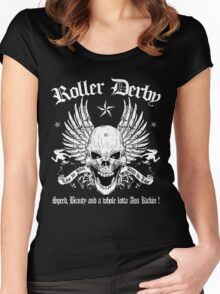 ROLLER DERBY SKULL Women's Fitted Scoop T-Shirt