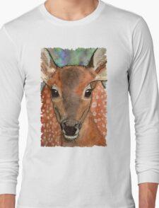 Deer Fawn Wildlife Water-colour Design Long Sleeve T-Shirt
