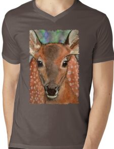 Deer Fawn Wildlife Water-colour Design Mens V-Neck T-Shirt