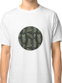 Watercolor pine branches pattern on black background Classic T-Shirt