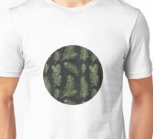 Watercolor pine branches pattern on black background Unisex T-Shirt