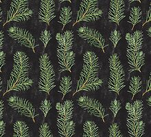 Watercolor pine branches pattern on black background by helga-wigandt
