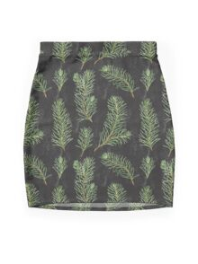 Watercolor pine branches pattern on black background Mini Skirt