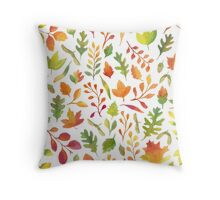 Watercolor autumn leaves pattern Throw Pillow