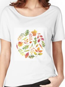 Watercolor autumn leaves pattern Women's Relaxed Fit T-Shirt