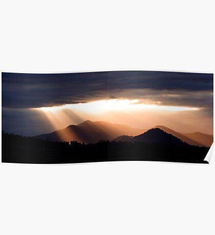 Last Light - sunset over the hills Poster