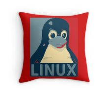 Linux Tux penguin poster head red blue  Throw Pillow