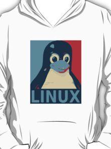 Linux Tux penguin poster head red blue  T-Shirt