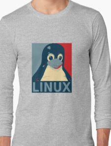 Linux Tux penguin poster head red blue  Long Sleeve T-Shirt