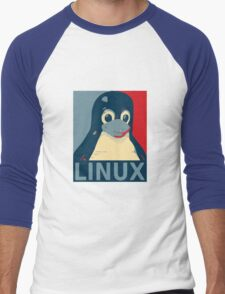Linux Tux penguin poster head red blue  Men's Baseball ¾ T-Shirt