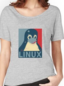 Linux Tux penguin poster head red blue  Women's Relaxed Fit T-Shirt