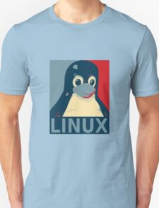 Linux Tux penguin poster head red blue  T-Shirt