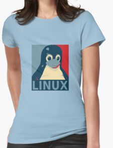 Linux Tux penguin poster head red blue  Womens Fitted T-Shirt