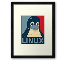 Linux Tux penguin poster head red blue  Framed Print